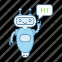 chat bot, chatbot, chatterbot, greeting, hi, robot, speech bubble