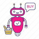 buy, chat bot, chatbot, grocery basket, robot, shopping, speech bubble icon