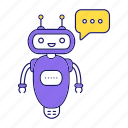chat bot, chat box, chatbot, robot, speech bubble, typing, virtual assistant icon