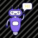chat bot, chatbot, chatterbot, greeting, hi, robot, speech bubble icon