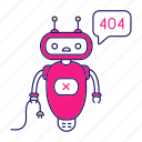 chat bot, chat box, chatbot, error, not found, robot, speech bubble icon