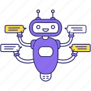 chat bot, chatterbot, message, messenger, robot, speech bubble, texting icon
