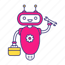 chat bot, chatbot, repair, robot, toolbag, toolkit, wrench icon