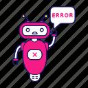chat bot, chatbot, error, error bot, notification, robot, speech bubble icon