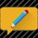 pencil, edit, communication, design, chat, message, customer care