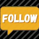 bubble, chat, communication, follow, media, social, twitter icon
