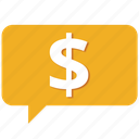 buy, cash, communication, customer care, message, money, support icon