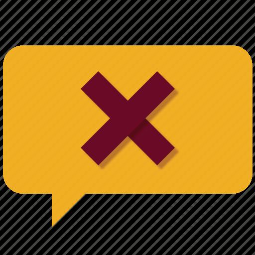 bubble, chat, delete, error, no, remove, warning icon