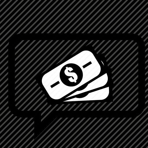 cash, chat, job, message, money, seo, speech icon