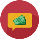 buy, cash, chat, communication, message, money, social icon