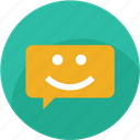 chat, customer care, good, happy, message, smiley, support icon