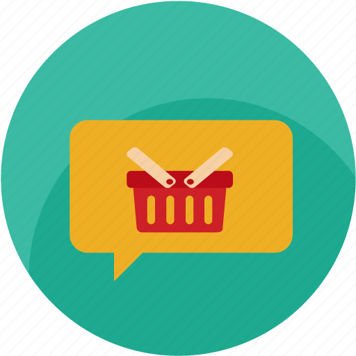 basket, bubble, buy, cart, chat, customer care, message icon