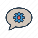 bubble, chat, gear, notification, setting icon