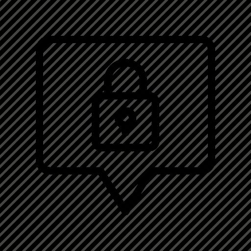 bubble, chat, lock, message, private icon