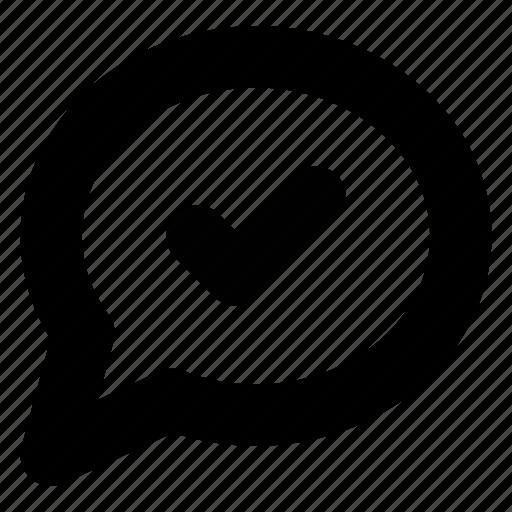 bubble, chat, check, comment, conversation, done, message icon