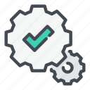 tick, gear, mark, ok, accept, check, approved icon