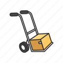 box, box in a dolly, delivery, dolly icon