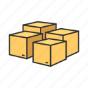 boxes, delivery boxes, goods, products icon