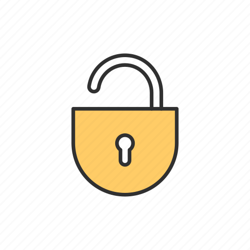 padlock, publick, unlock, unsecured icon