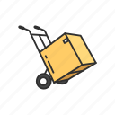 box, box in a dolly, delivery, delivery box icon