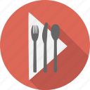 fork, spoon, napkin, silverware, knife, cook, restaurant