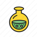 chemistry, experiment, flask, glass, laboratory, response, science icon