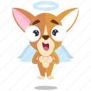 angel, chihuahua, emoji, emoticon, smiley, sticker icon