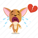 broken, chihuahua, emoji, emoticon, heart, smiley, sticker icon