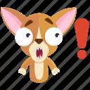 chihuahua, emoji, emoticon, exclaimation, smiley, sticker, surprise icon