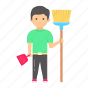 child labor, labour, sweeper, cleaner, worker, domestic icon