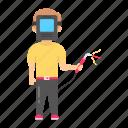 little, child worker, welder, welding gun, welding mask, child labor