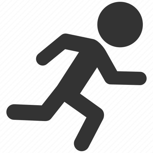 emergency exit, fast courier, fitness, male person, run, runner, running man icon