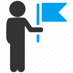 child, flag man, meeting, person, signal, team leader, tourist guide icon