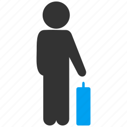 baggage, boy, customer profile, man pose, passenger, trip, user account icon