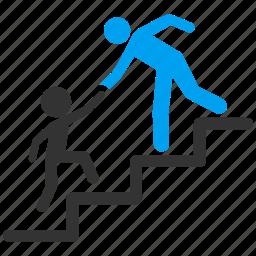business training, evolution, friend, progress, school, stair steps, step icon