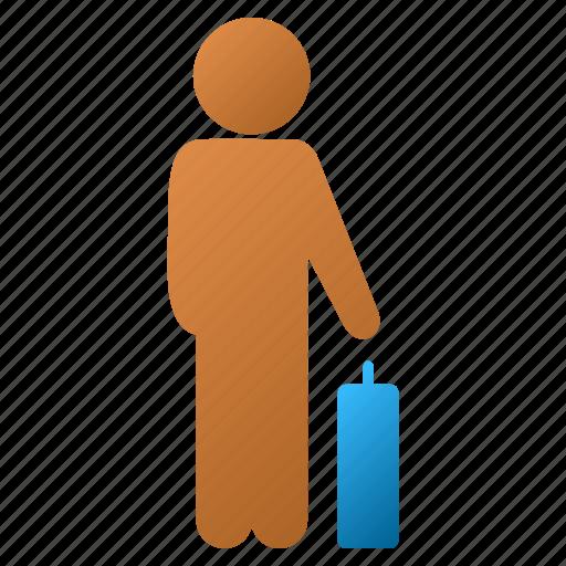 baggage, boy, customer profile, man pose, passenger, trip, user account icon