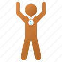 award, boy, prize, sport, success, win, winner icon