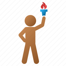 child, fire, flame, freedom, hero, leader, light torch icon