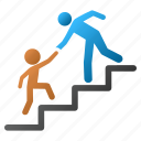 business training, evolution, friend, progress, school, stair steps, step icon