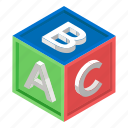 abc block, alphabetics blocks, education, english, kindergarten icon