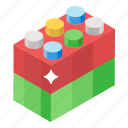 building blocks, building bricks, kids blocks, legos, plastic blocks, toy blocks icon