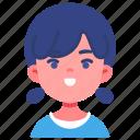 avatar, children, girl, happy, kid, person, youth icon
