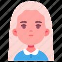 avatar, children, girl, kid, longhair, person, youth icon