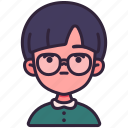 avatar, boy, children, glasses, kid, person, youth icon