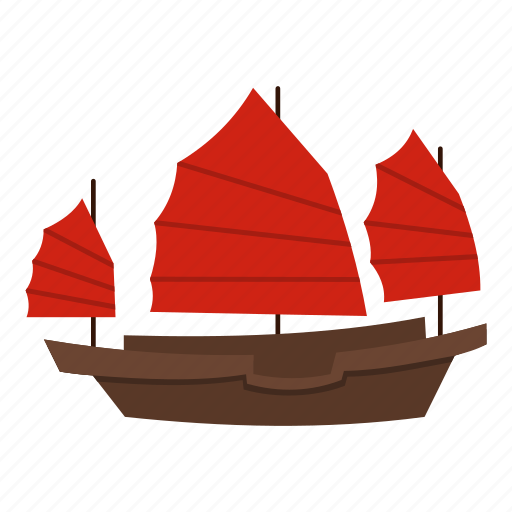 boat, chinese, sail, ship, transportation, travel, wooden icon