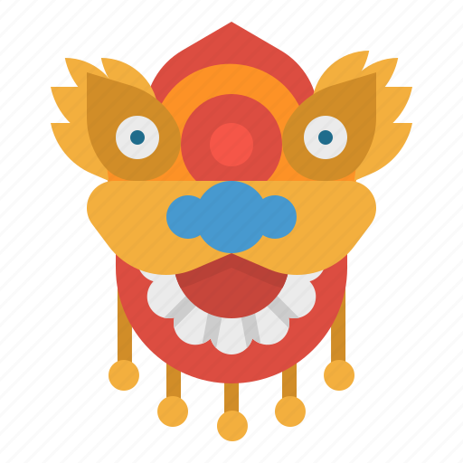 chinese, dragon, mask, new, year icon