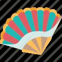 fan, paper, accessory, oriental, cooling icon