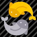 animal, carp, china, couple, fish, gold, silver icon