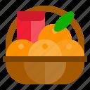 basket, china, fruit, gift, orange