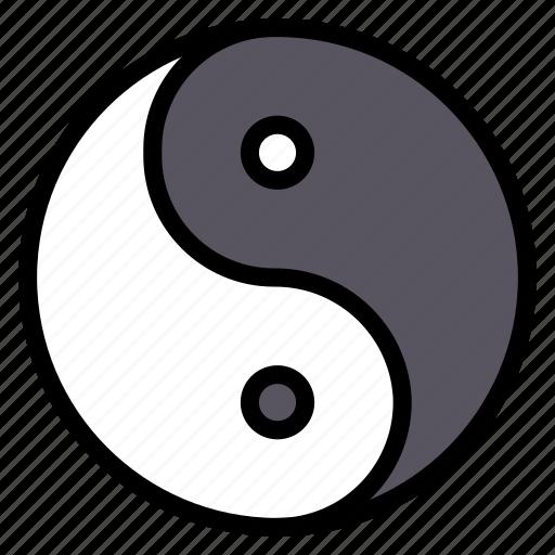 asian, bright, chinese, culture, dark, yang, yin icon